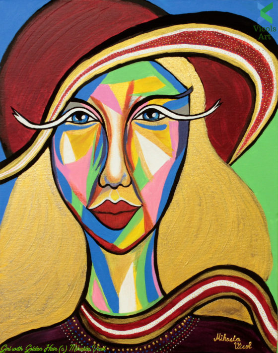Girl with Golden Hair - Mihaela Vicol - Acrylic Painting - Woman